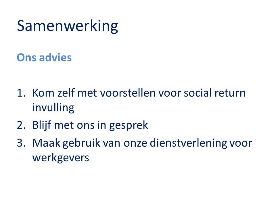 Samenwerking Ons advies 1.Kom zelf met voorstellen voor social return invulling 2.Blijf met ons in gesprek 3.Maak gebruik van onze dienstverlening voo