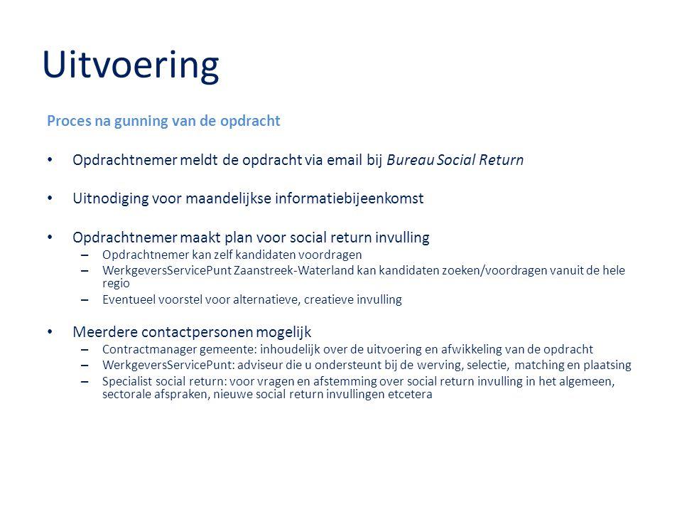Uitvoering Proces na gunning van de opdracht Opdrachtnemer meldt de opdracht via email bij Bureau Social Return Uitnodiging voor maandelijkse informat