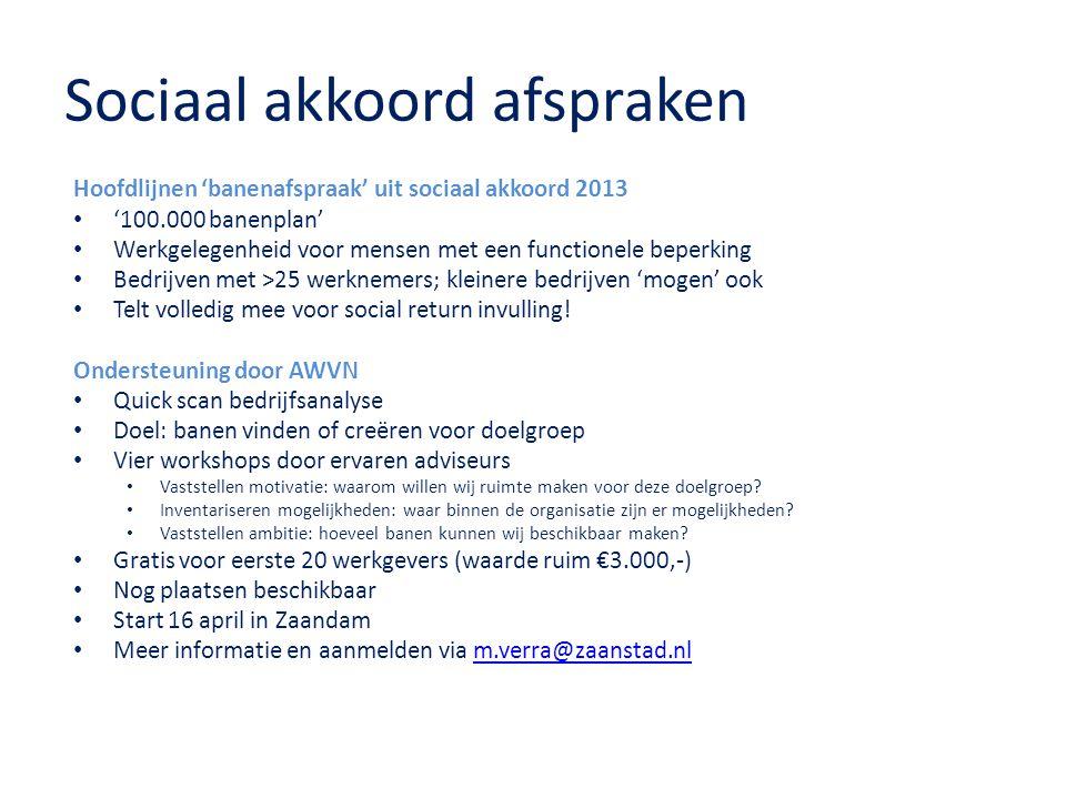 Sociaal akkoord afspraken Hoofdlijnen 'banenafspraak' uit sociaal akkoord 2013 '100.000 banenplan' Werkgelegenheid voor mensen met een functionele beperking Bedrijven met >25 werknemers; kleinere bedrijven 'mogen' ook Telt volledig mee voor social return invulling.