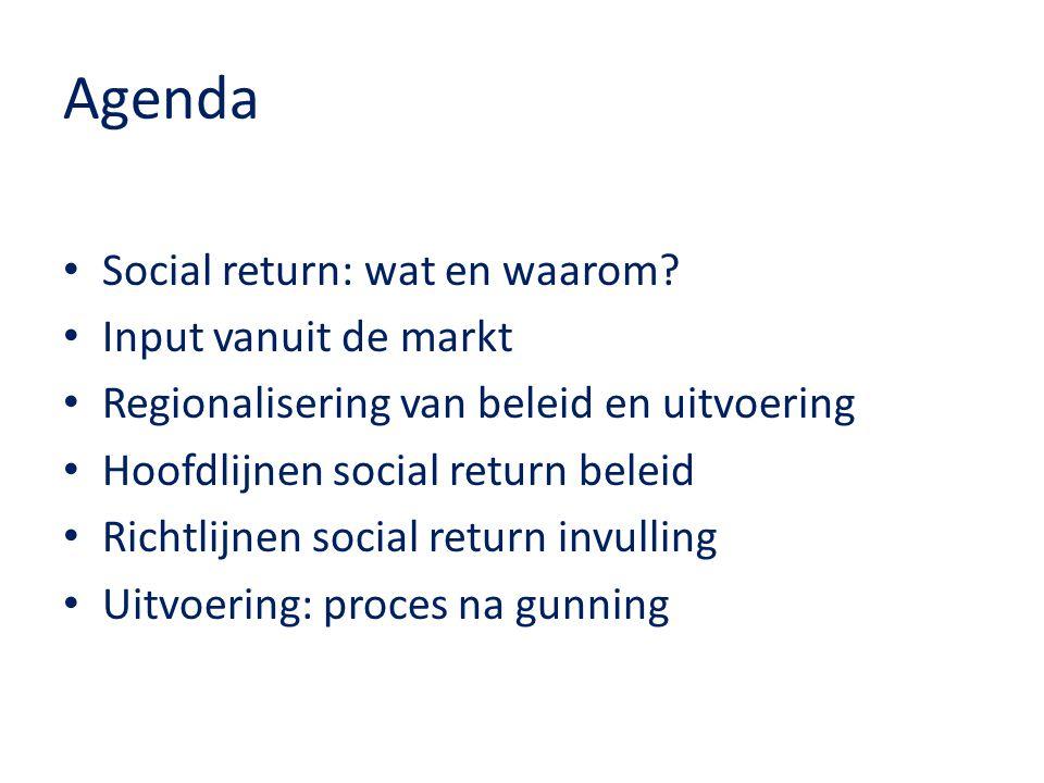Agenda Social return: wat en waarom? Input vanuit de markt Regionalisering van beleid en uitvoering Hoofdlijnen social return beleid Richtlijnen socia
