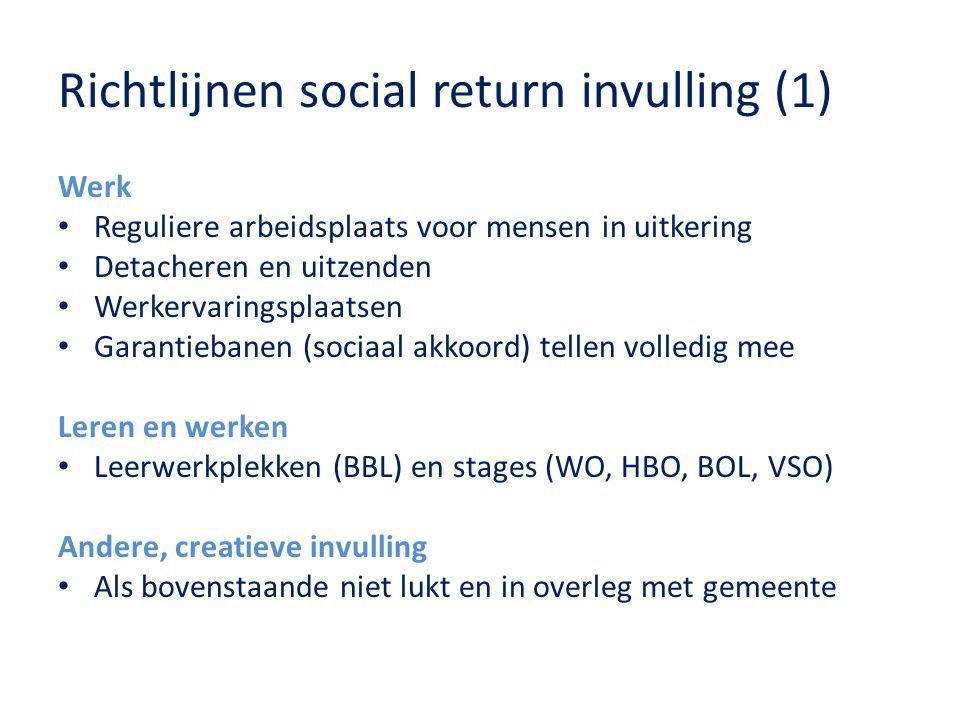 Richtlijnen social return invulling (1) Werk Reguliere arbeidsplaats voor mensen in uitkering Detacheren en uitzenden Werkervaringsplaatsen Garantieba