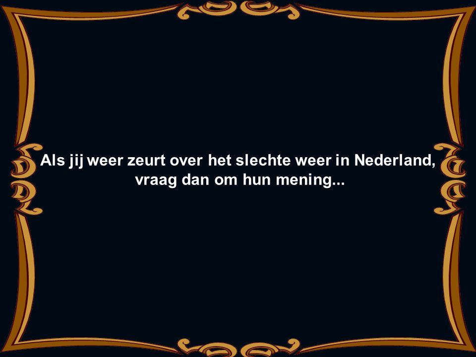 Als jij weer zeurt over het slechte weer in Nederland, vraag dan om hun mening...