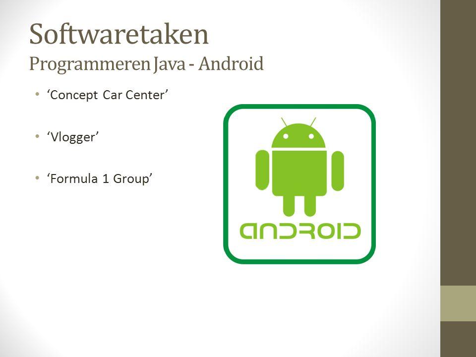 Softwaretaken Programmeren Java - Android 'Concept Car Center' 'Vlogger' 'Formula 1 Group'