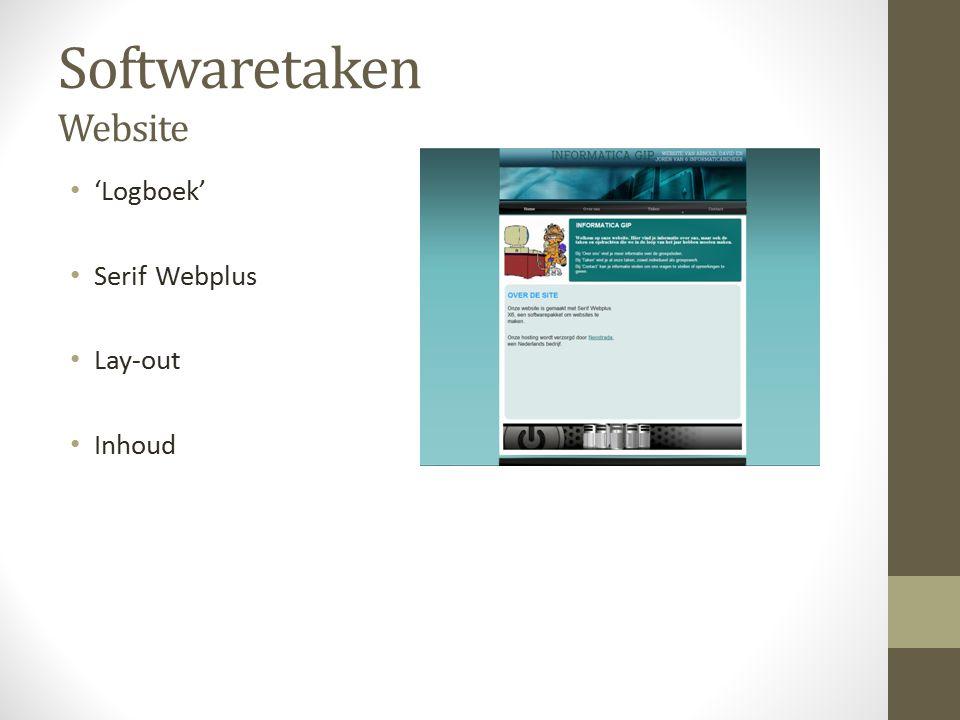 Softwaretaken Website 'Logboek' Serif Webplus Lay-out Inhoud