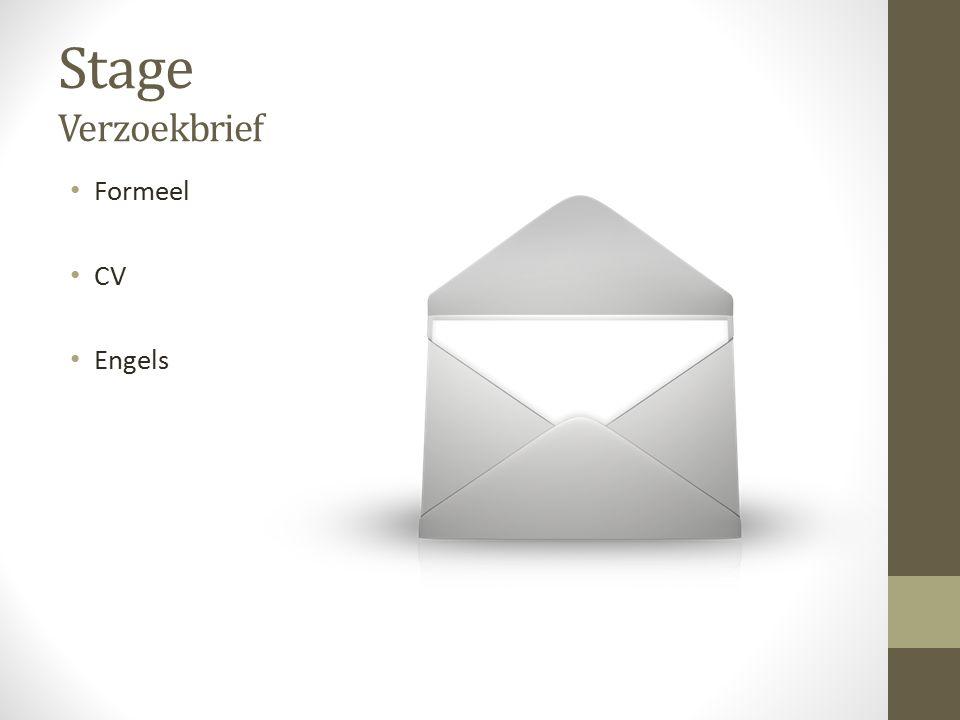 Stage Verzoekbrief Formeel CV Engels