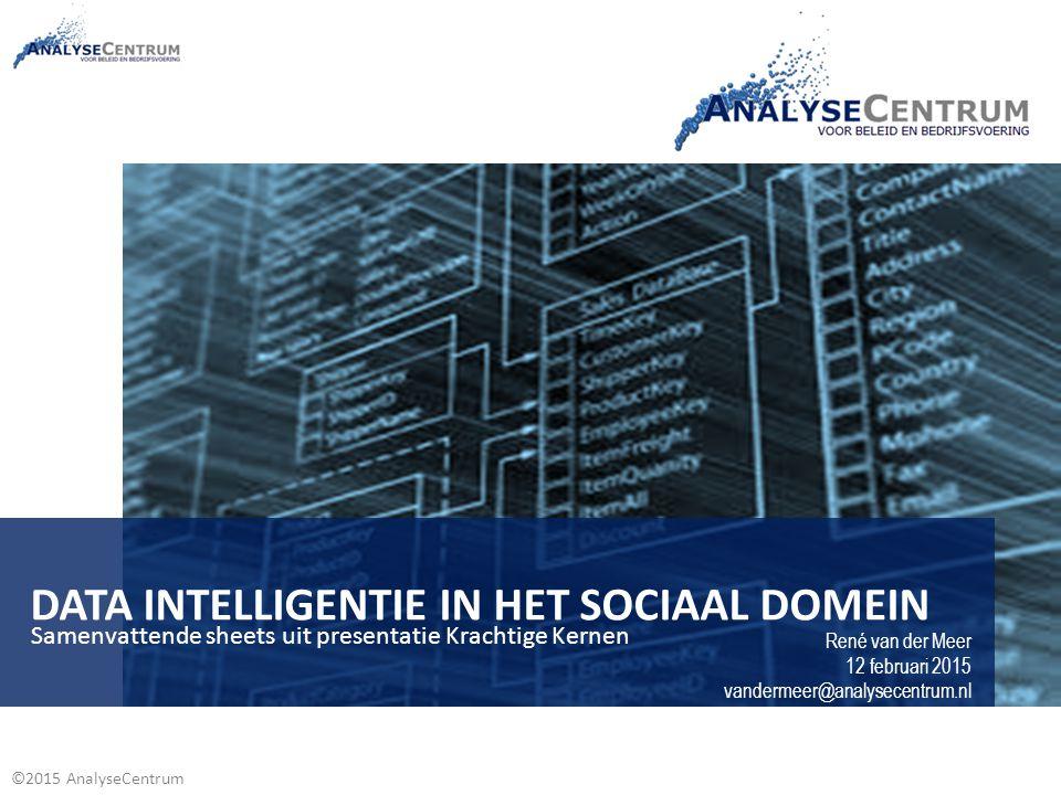 ©2015 AnalyseCentrum DATA INTELLIGENTIE IN HET SOCIAAL DOMEIN René van der Meer 12 februari 2015 vandermeer@analysecentrum.nl Samenvattende sheets uit