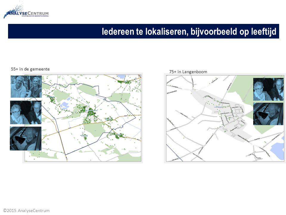 ©2015 AnalyseCentrum Iedereen te lokaliseren, bijvoorbeeld op leeftijd 75+ in Langenboom 55+ in de gemeente