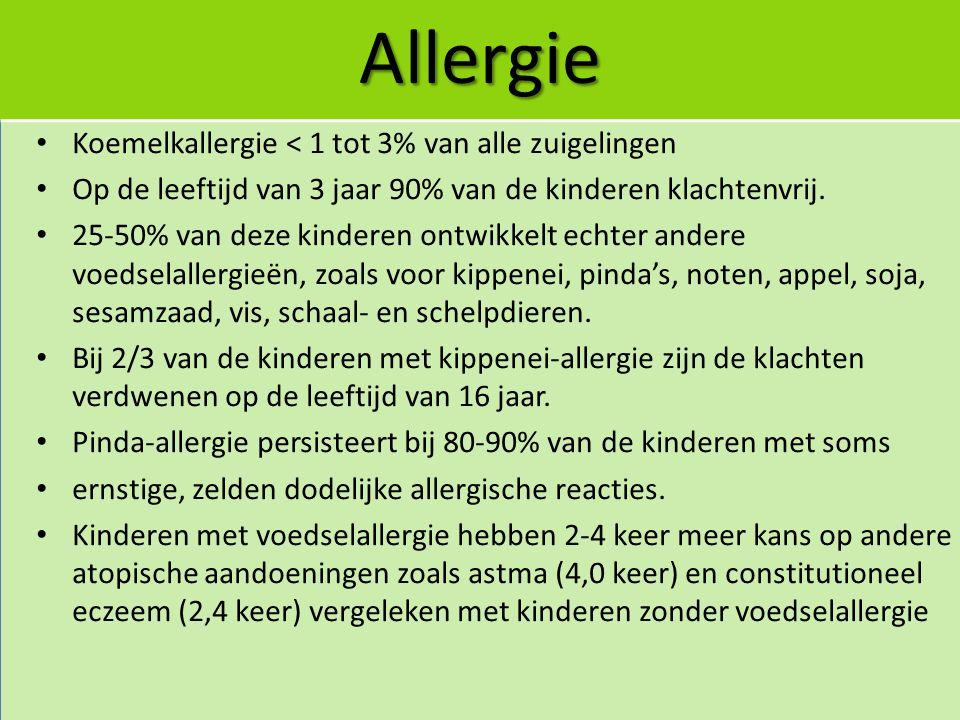 Allergie Koemelkallergie < 1 tot 3% van alle zuigelingen Op de leeftijd van 3 jaar 90% van de kinderen klachtenvrij. 25-50% van deze kinderen ontwikke
