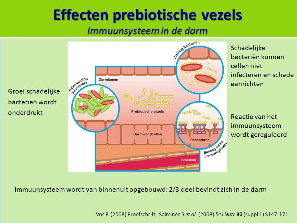 Effecten prebiotische vezels Immuunsysteem in de darm Vos P. (2008) Proefschrift, Salminen S et al. (2008) Br J Nutr 80 (suppl 1) S147-171 Groei schad