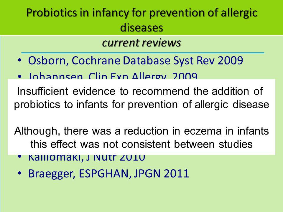 Probiotics in infancy for prevention of allergic diseases current reviews Osborn, Cochrane Database Syst Rev 2009 Johannsen, Clin Exp Allergy, 2009 Ya
