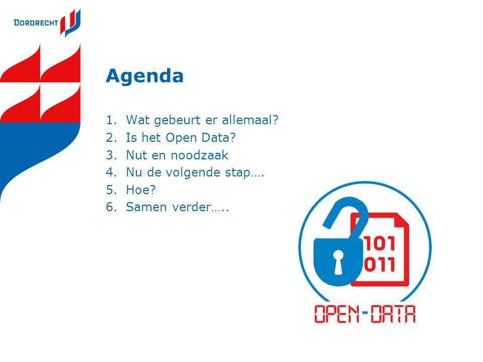 Agenda 1.Wat gebeurt er allemaal? 2.Is het Open Data? 3.Nut en noodzaak 4.Nu de volgende stap…. 5.Hoe? 6.Samen verder…..