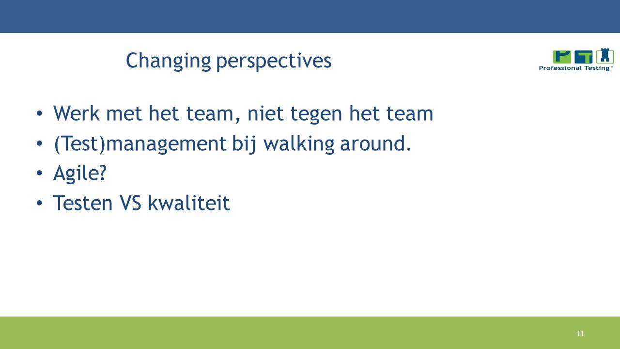 Changing perspectives Werk met het team, niet tegen het team (Test)management bij walking around. Agile? Testen VS kwaliteit 11