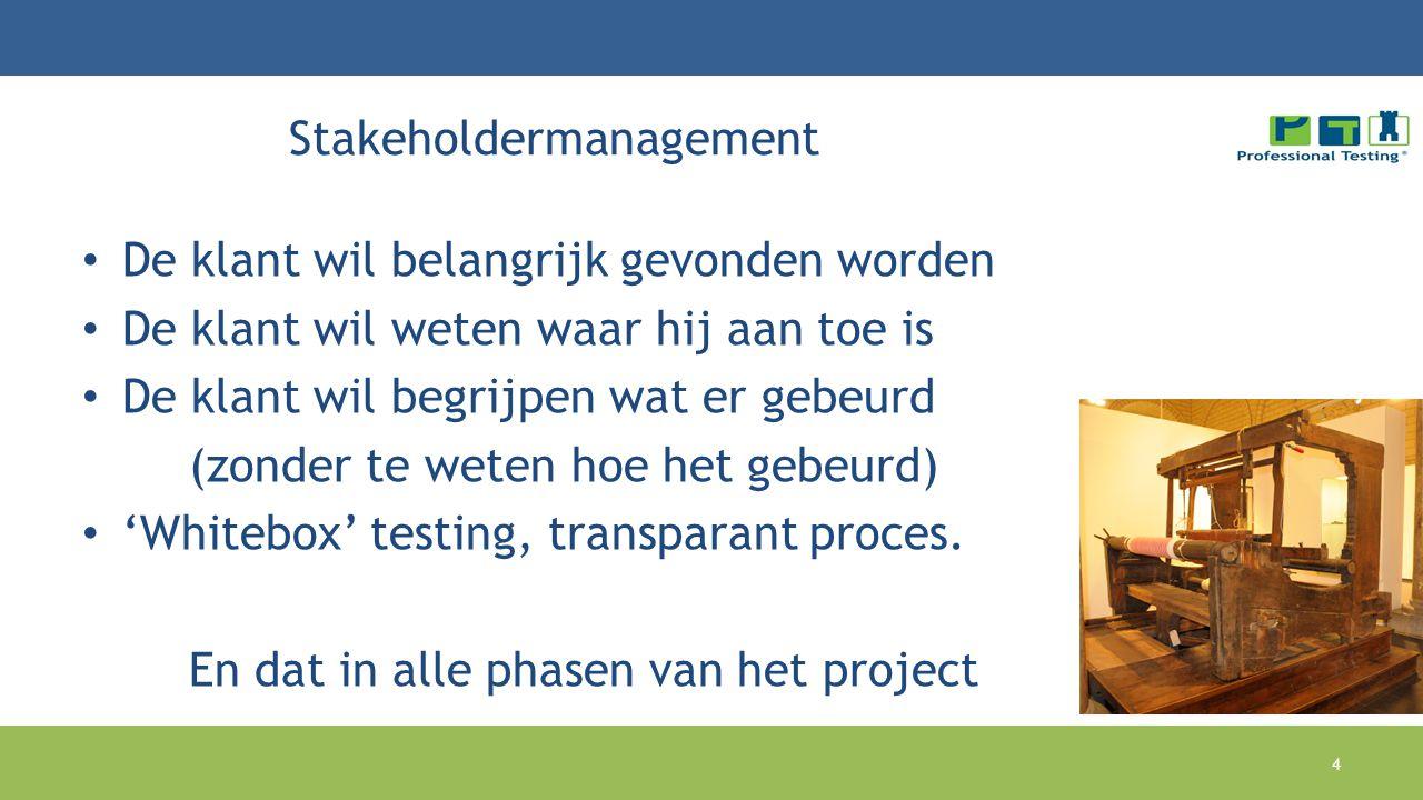 Stakeholdermanagement De klant wil belangrijk gevonden worden De klant wil weten waar hij aan toe is De klant wil begrijpen wat er gebeurd (zonder te weten hoe het gebeurd) 'Whitebox' testing, transparant proces.