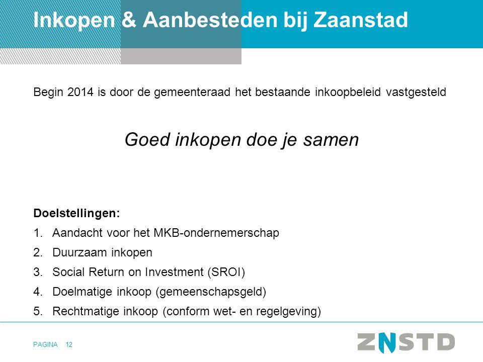 PAGINA12 Inkopen & Aanbesteden bij Zaanstad Begin 2014 is door de gemeenteraad het bestaande inkoopbeleid vastgesteld Goed inkopen doe je samen Doelst
