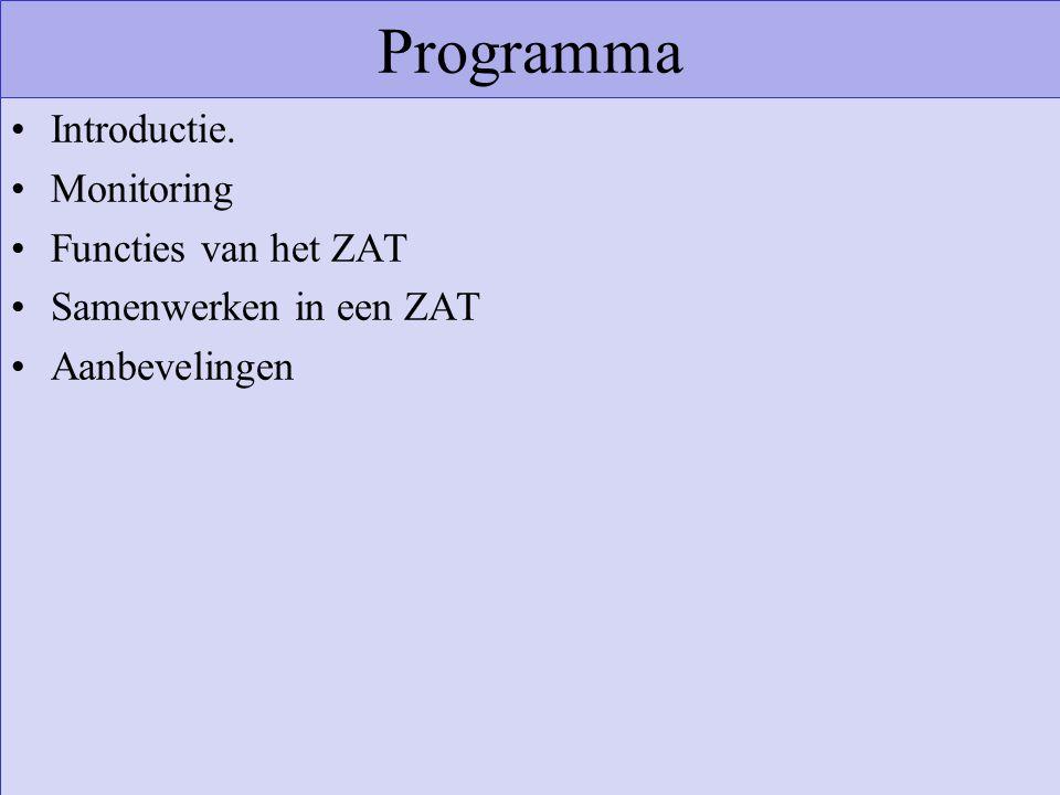 Programma Introductie. Monitoring Functies van het ZAT Samenwerken in een ZAT Aanbevelingen