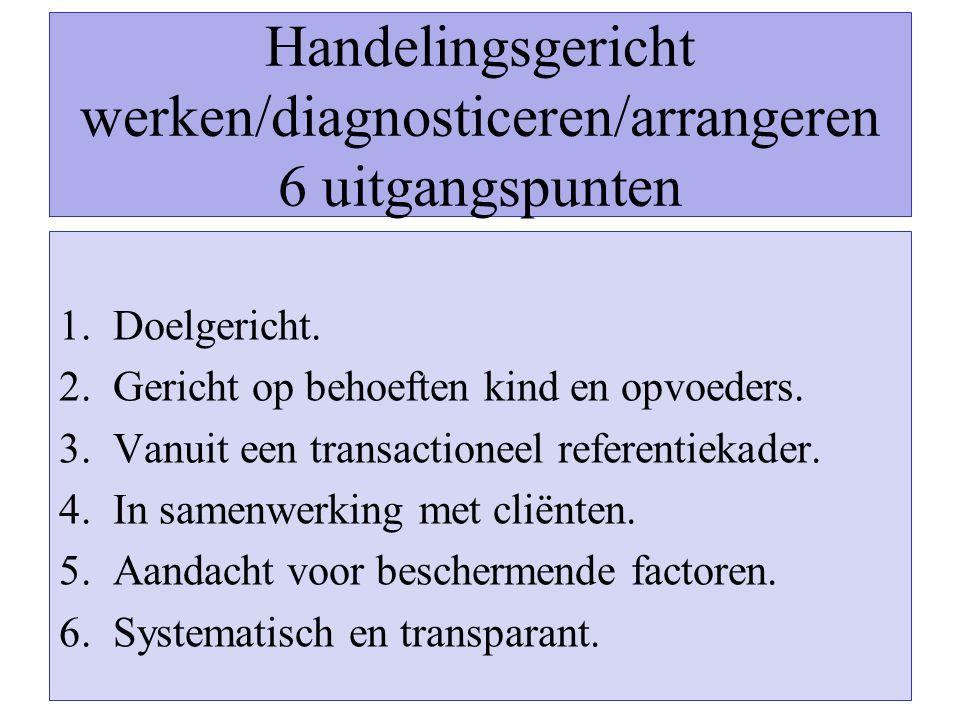 Handelingsgericht werken/diagnosticeren/arrangeren 6 uitgangspunten 1.Doelgericht. 2.Gericht op behoeften kind en opvoeders. 3.Vanuit een transactione