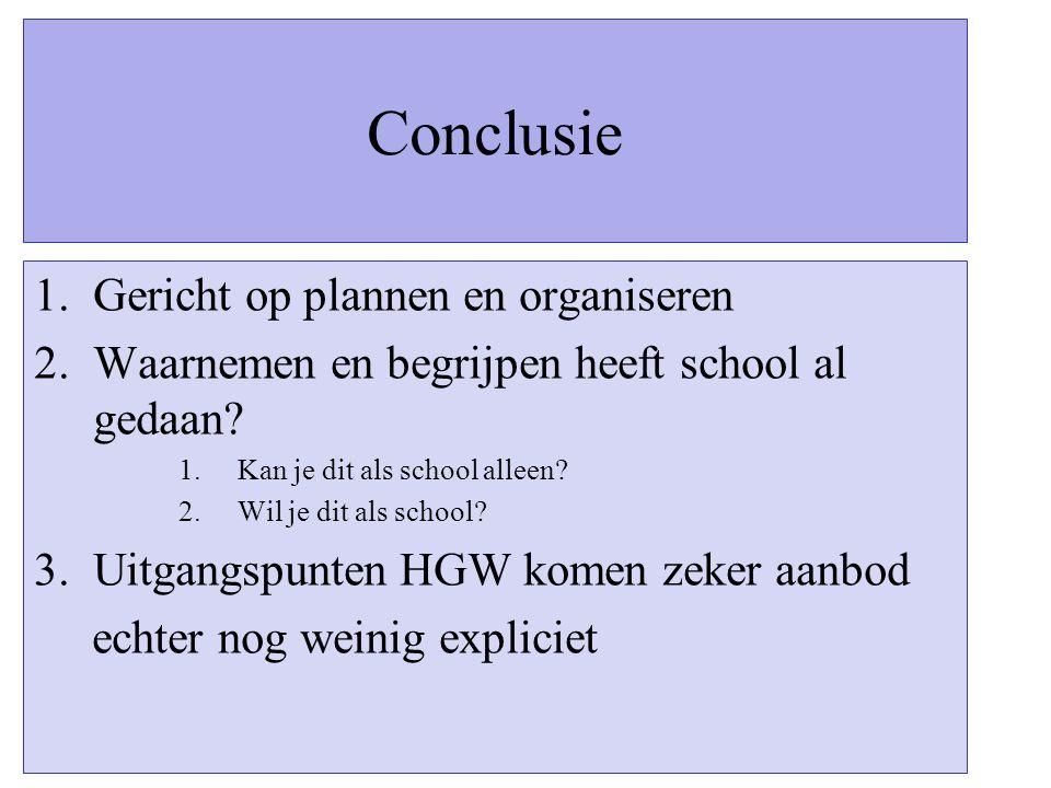 Conclusie 1.Gericht op plannen en organiseren 2.Waarnemen en begrijpen heeft school al gedaan? 1.Kan je dit als school alleen? 2.Wil je dit als school