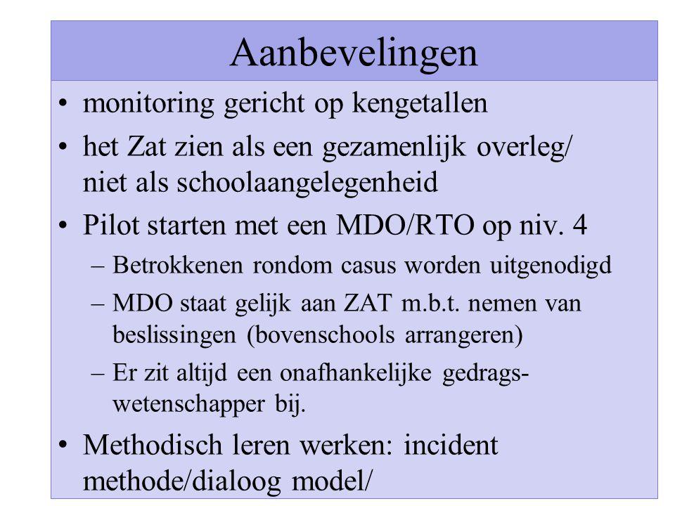 Aanbevelingen monitoring gericht op kengetallen het Zat zien als een gezamenlijk overleg/ niet als schoolaangelegenheid Pilot starten met een MDO/RTO op niv.