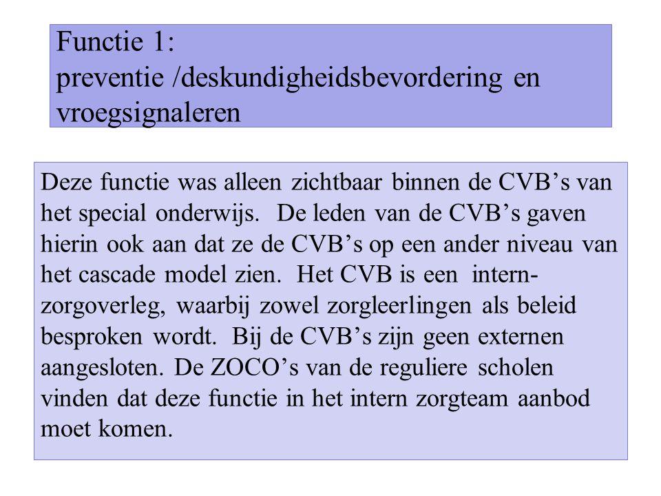 Functie 1: preventie /deskundigheidsbevordering en vroegsignaleren Deze functie was alleen zichtbaar binnen de CVB's van het special onderwijs. De led