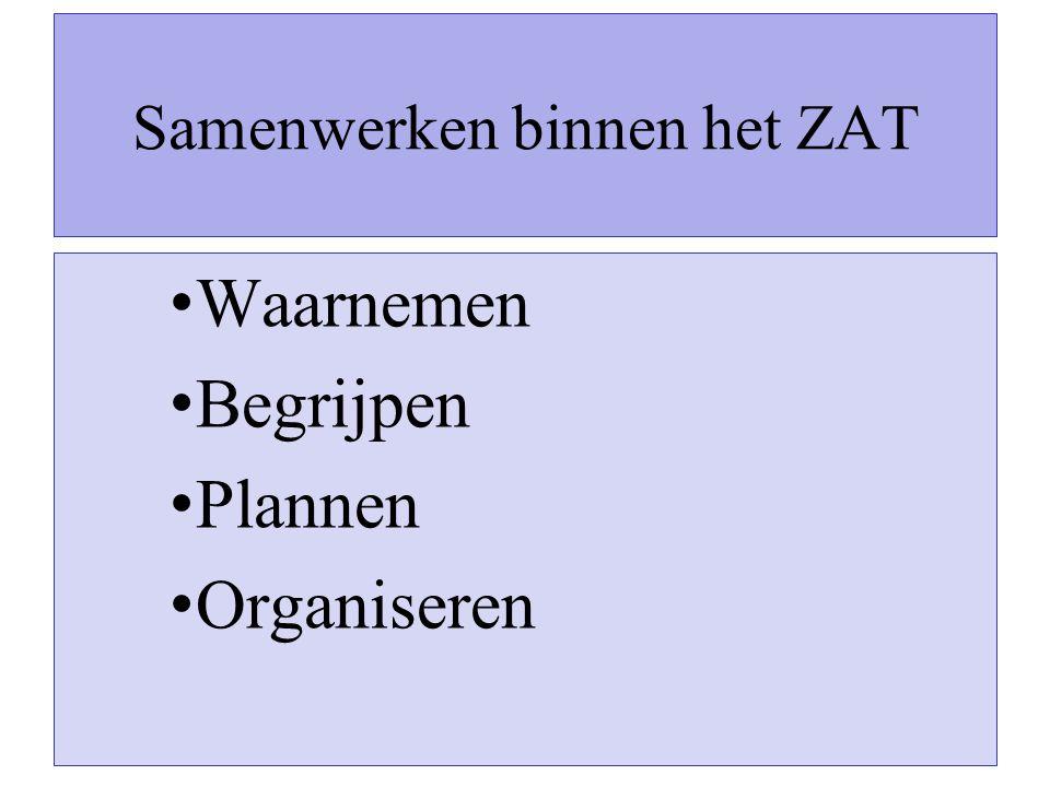 Samenwerken binnen het ZAT Waarnemen Begrijpen Plannen Organiseren