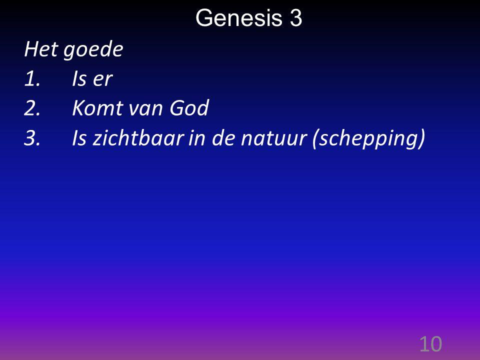 10 Genesis 3 Het goede 1.Is er 2.Komt van God 3.Is zichtbaar in de natuur (schepping)