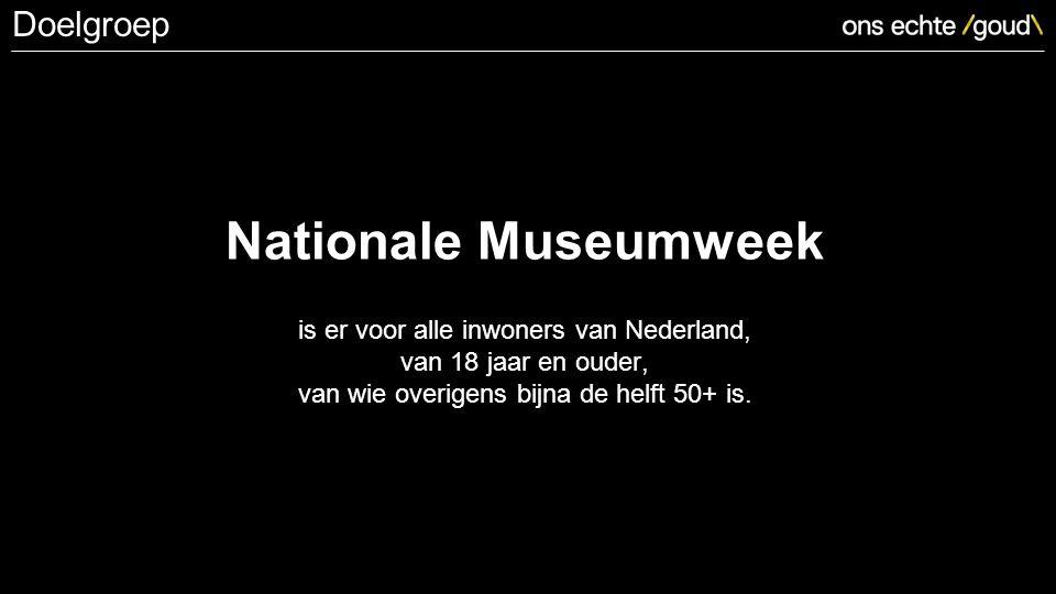 Nationale Museumweek is er voor alle inwoners van Nederland, van 18 jaar en ouder, van wie overigens bijna de helft 50+ is.