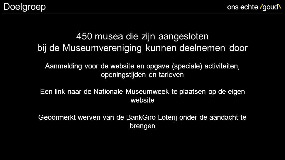 450 musea die zijn aangesloten bij de Museumvereniging kunnen deelnemen door Aanmelding voor de website en opgave (speciale) activiteiten, openingstijden en tarieven Een link naar de Nationale Museumweek te plaatsen op de eigen website Geoormerkt werven van de BankGiro Loterij onder de aandacht te brengen Doelgroep