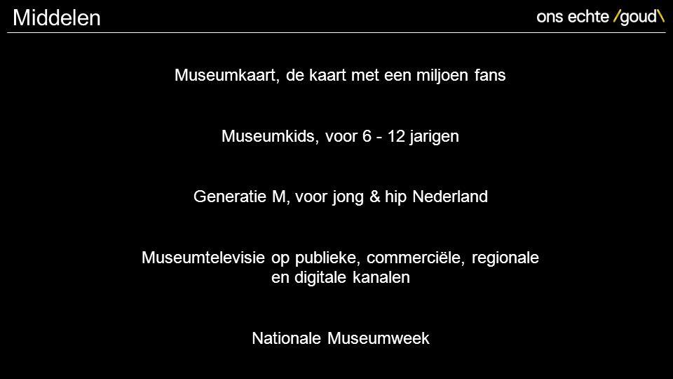 Museumkaart, de kaart met een miljoen fans Museumkids, voor 6 - 12 jarigen Generatie M, voor jong & hip Nederland Museumtelevisie op publieke, commerciële, regionale en digitale kanalen Nationale Museumweek Middelen