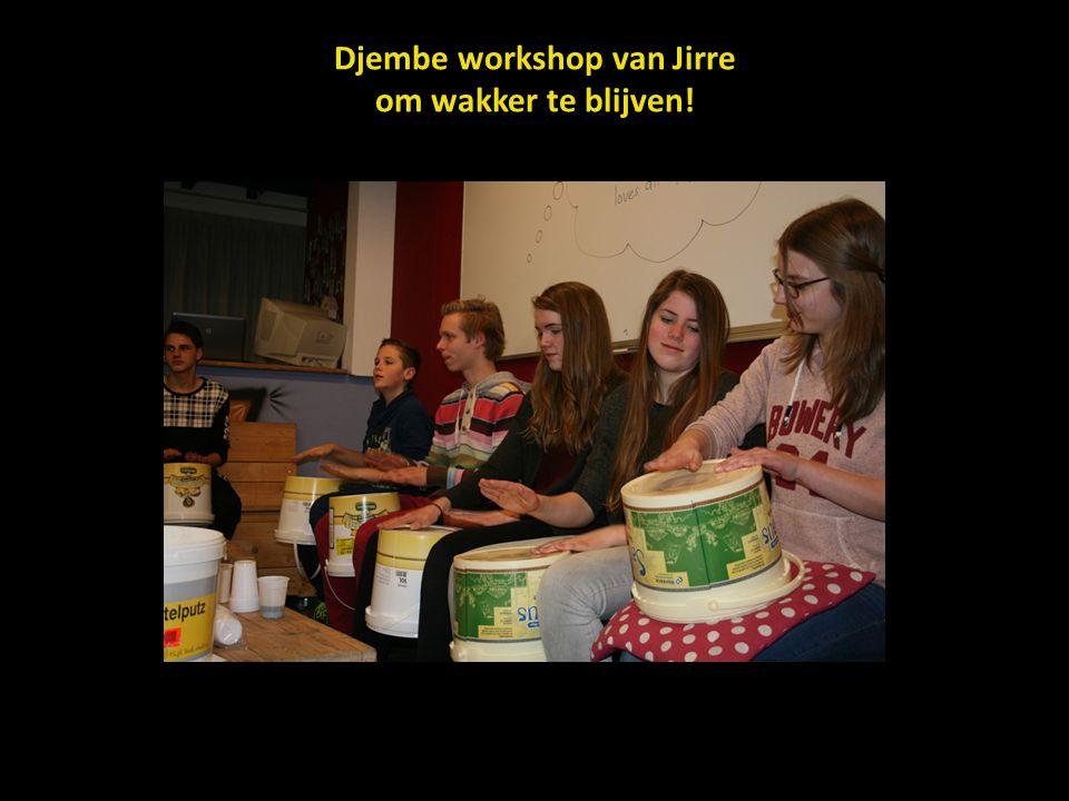 Djembe workshop van Jirre om wakker te blijven!
