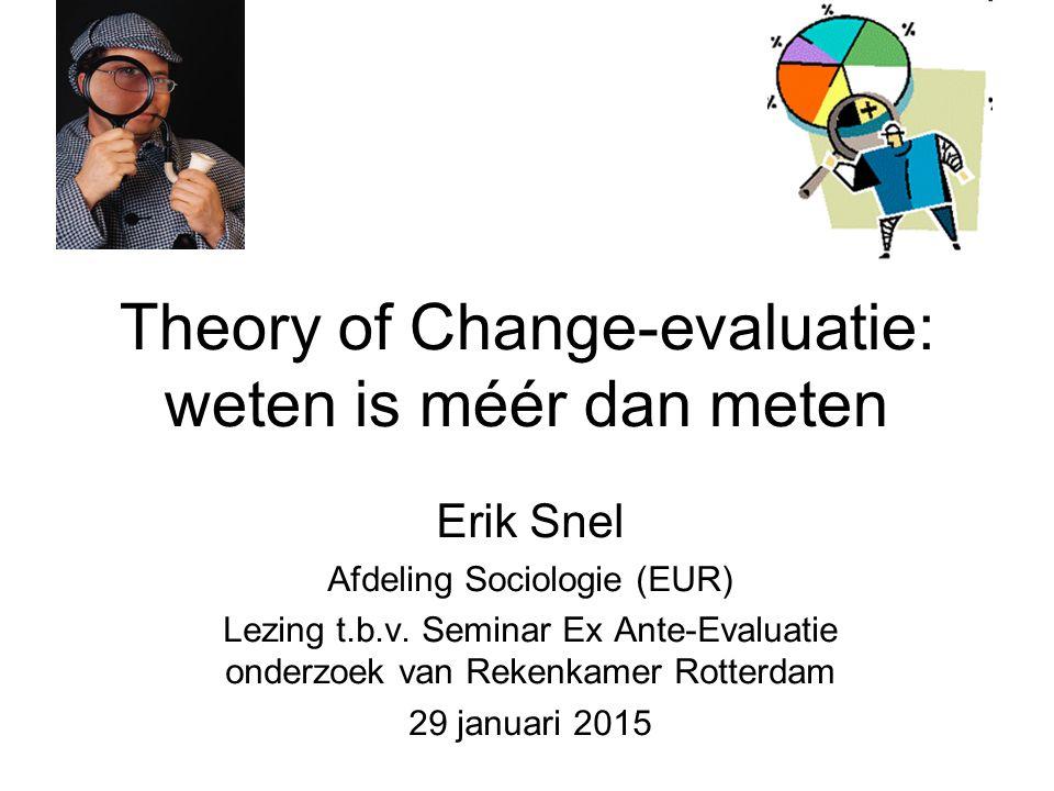 Theory of Change-evaluatie: weten is méér dan meten Erik Snel Afdeling Sociologie (EUR) Lezing t.b.v. Seminar Ex Ante-Evaluatie onderzoek van Rekenkam