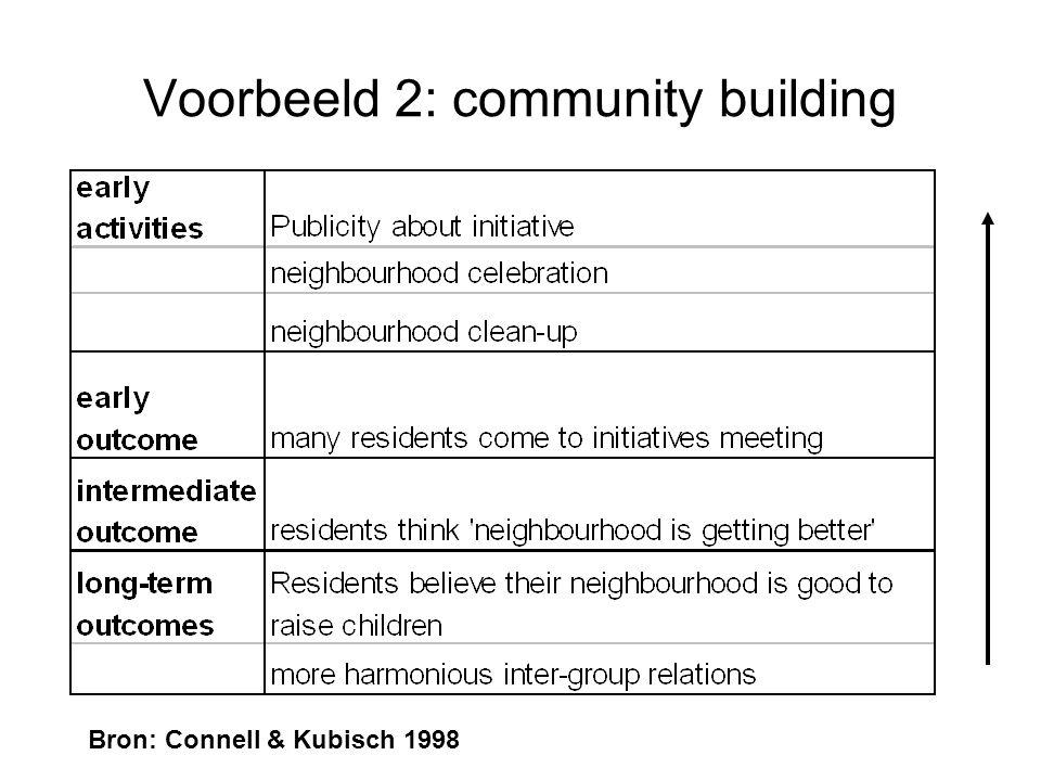 Voorbeeld 2: community building Bron: Connell & Kubisch 1998