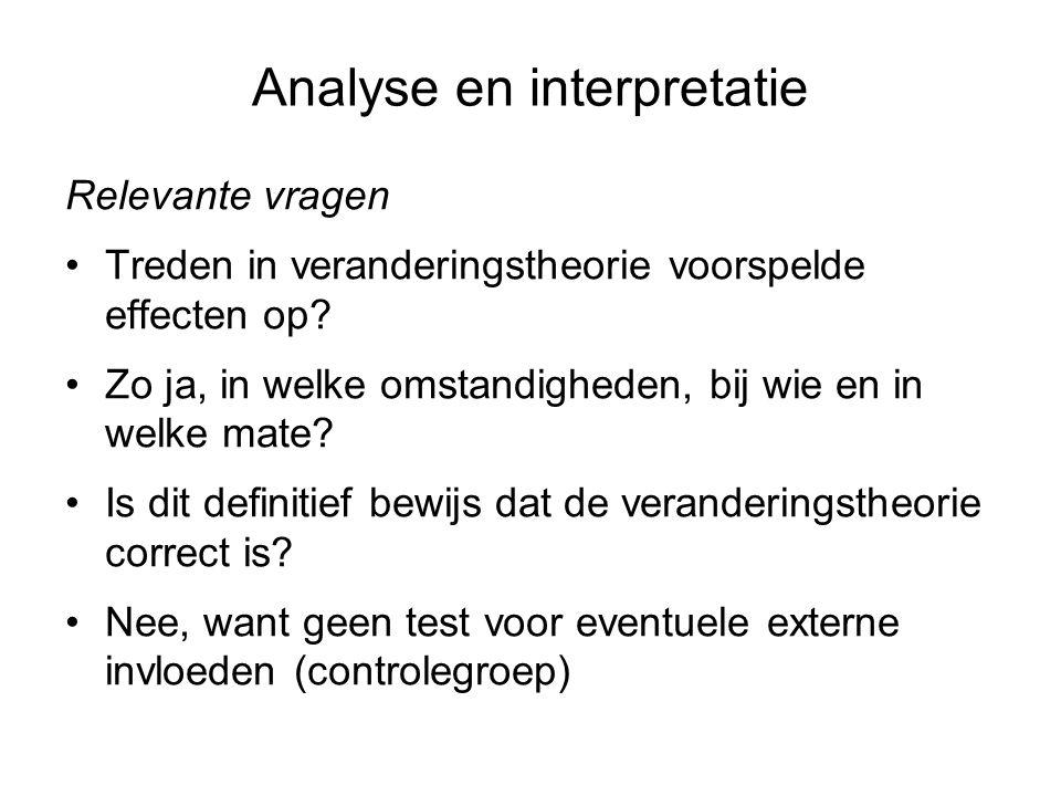 Analyse en interpretatie Relevante vragen Treden in veranderingstheorie voorspelde effecten op? Zo ja, in welke omstandigheden, bij wie en in welke ma