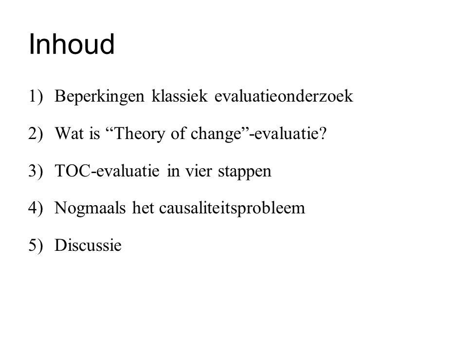 """Inhoud 1)Beperkingen klassiek evaluatieonderzoek 2)Wat is """"Theory of change""""-evaluatie? 3)TOC-evaluatie in vier stappen 4)Nogmaals het causaliteitspro"""