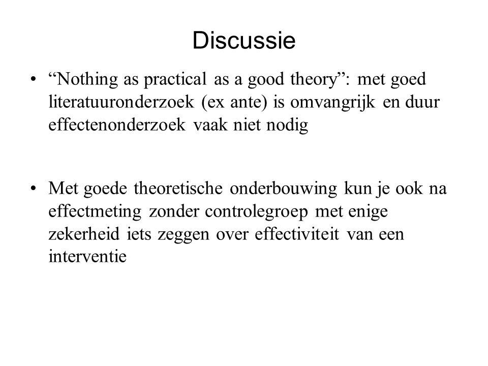 """Discussie """"Nothing as practical as a good theory"""": met goed literatuuronderzoek (ex ante) is omvangrijk en duur effectenonderzoek vaak niet nodig Met"""