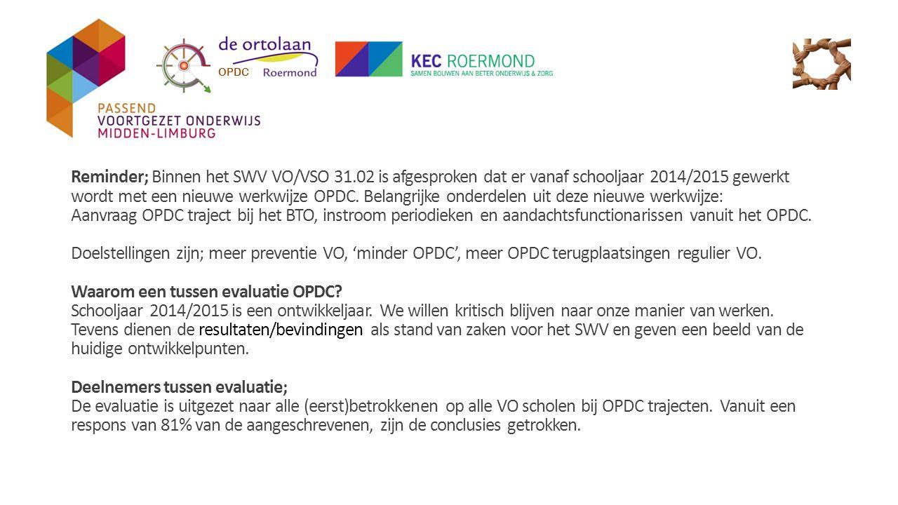 Onderdelen uit de tussen evaluatie OPDC; -Informatieverstrekking nieuwe werkwijze OPDC; 90% van de ondervraagden beoordeelt de informatieverstrekking over de nieuwe werkwijze OPDC met voldoende-goed.