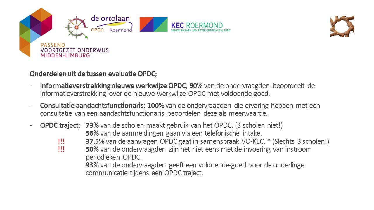 Onderdelen uit de tussen evaluatie OPDC; -Informatieverstrekking nieuwe werkwijze OPDC; 90% van de ondervraagden beoordeelt de informatieverstrekking