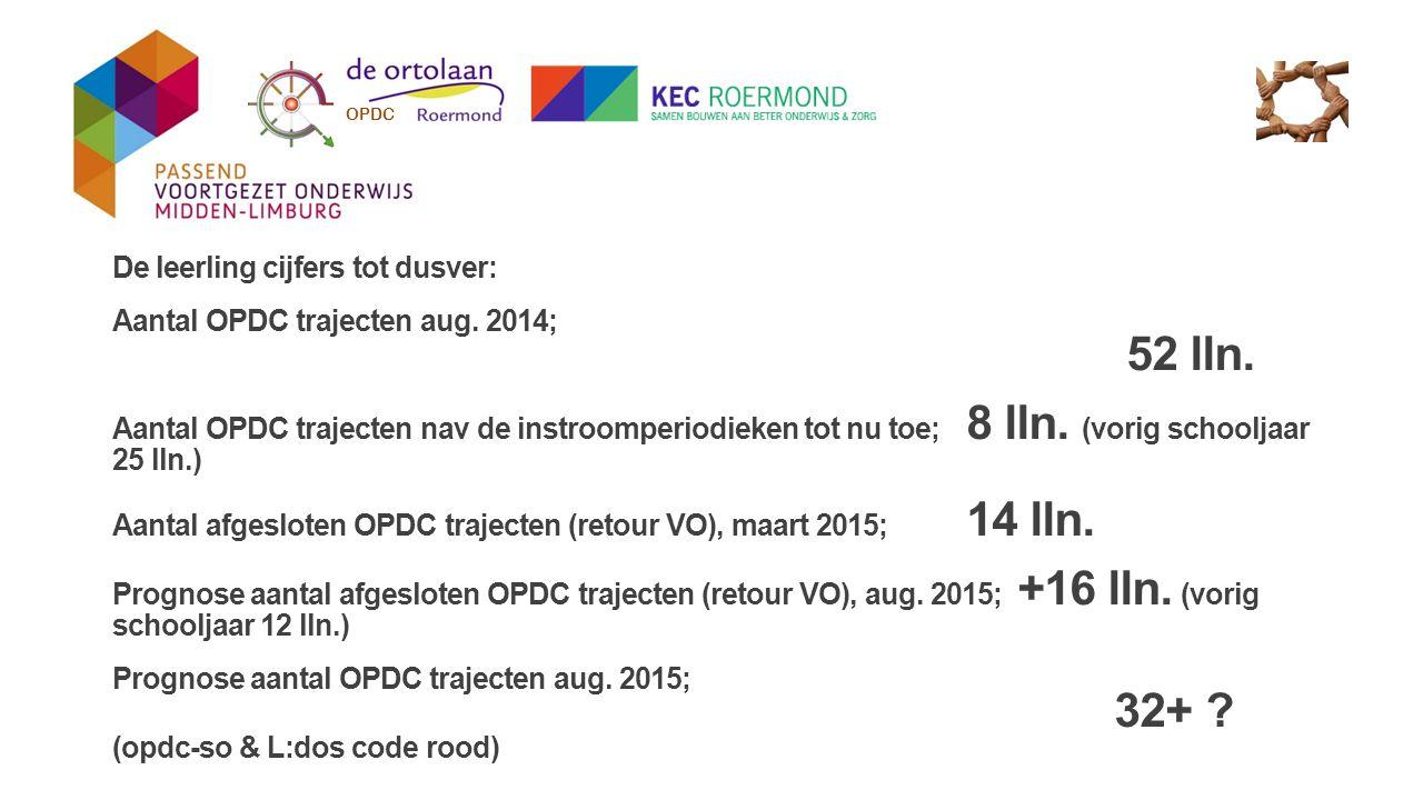 De leerling cijfers tot dusver: Aantal OPDC trajecten aug. 2014; 52 lln. Aantal OPDC trajecten nav de instroomperiodieken tot nu toe; 8 lln. (vorig sc