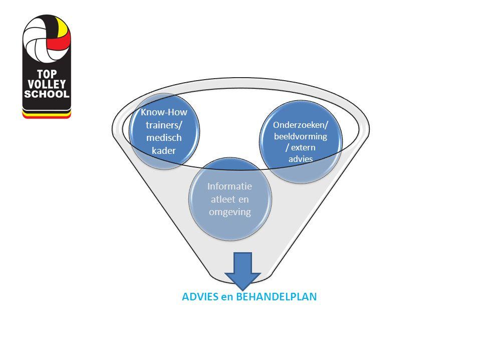 Informatie atleet en omgeving Onderzoeken/ beeldvorming / extern advies Know-How trainers/ medisch kader ADVIES en BEHANDELPLAN