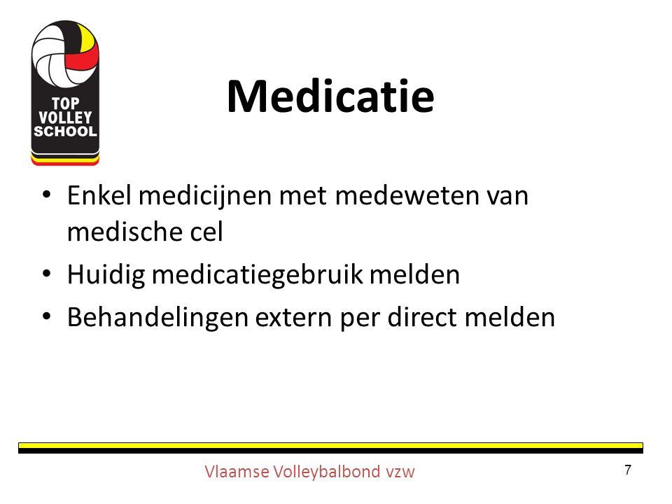 Enkel medicijnen met medeweten van medische cel Huidig medicatiegebruik melden Behandelingen extern per direct melden 7 Vlaamse Volleybalbond vzw Medicatie