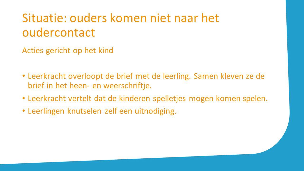 Situatie: ouders komen niet naar het oudercontact Acties gericht op het kind Leerkracht overloopt de brief met de leerling. Samen kleven ze de brief i