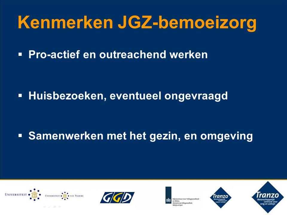 Kenmerken JGZ-bemoeizorg  Pro-actief en outreachend werken  Huisbezoeken, eventueel ongevraagd  Samenwerken met het gezin, en omgeving