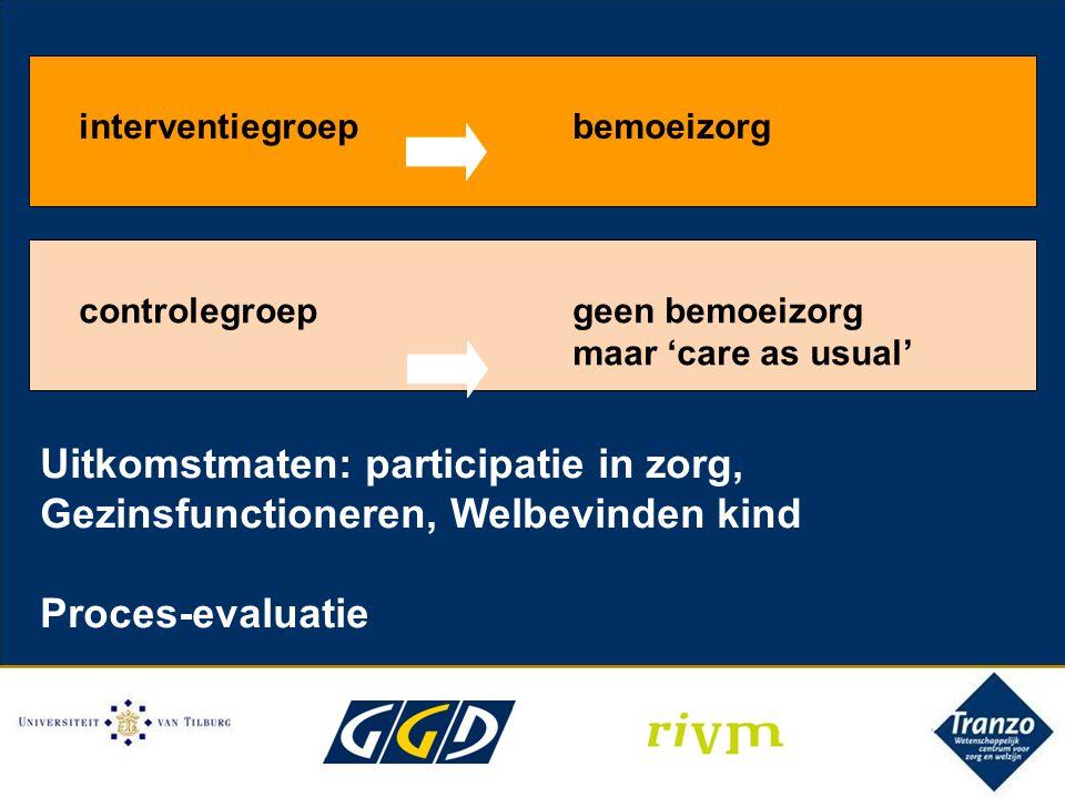 interventiegroepbemoeizorg controlegroepgeen bemoeizorg maar 'care as usual' Uitkomstmaten: participatie in zorg, Gezinsfunctioneren, Welbevinden kind Proces-evaluatie