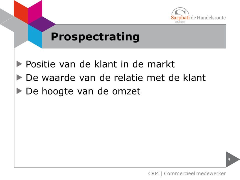 Positie van de klant in de markt De waarde van de relatie met de klant De hoogte van de omzet 4 CRM | Commercieel medewerker Prospectrating