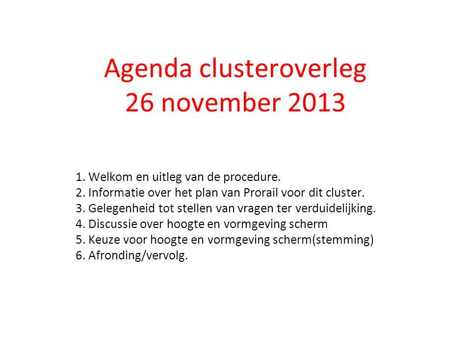 Agenda clusteroverleg 26 november 2013 1. Welkom en uitleg van de procedure. 2. Informatie over het plan van Prorail voor dit cluster. 3. Gelegenheid