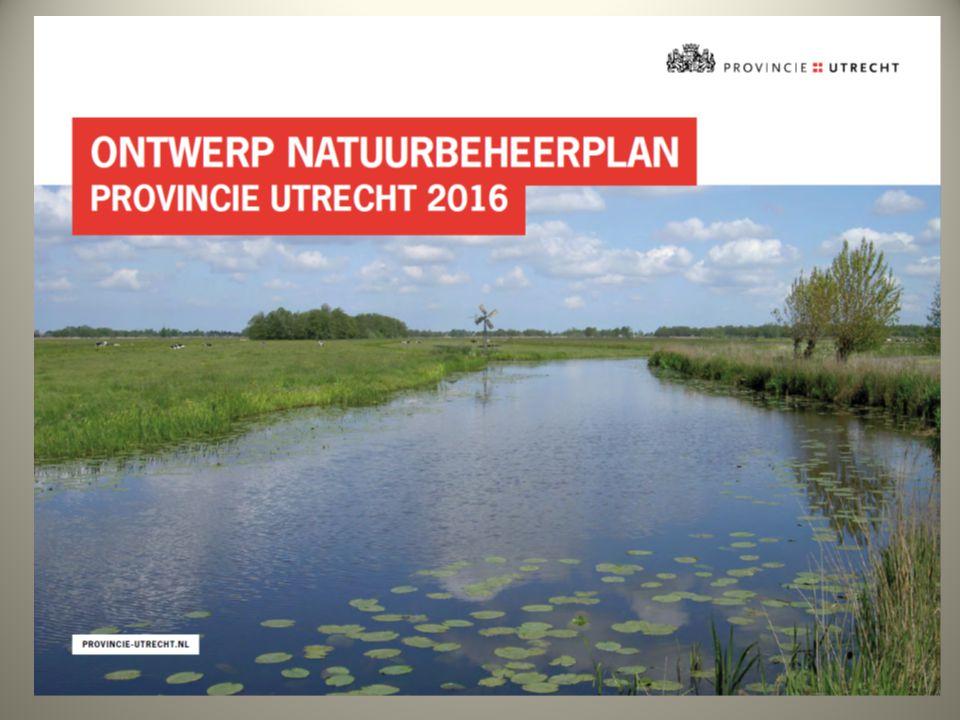 Natuurbeheerplan Geeft de kaders aan Begrenzing op kaart Aanvullende criteria/instapeisen/doelsoorten In samenspraak met collectief Vaststelling door provincie Utrecht in april