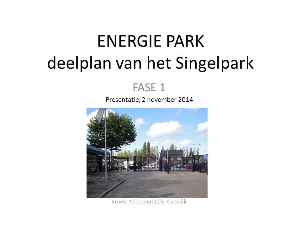 ENERGIE PARK deelplan van het Singelpark FASE 1 Presentatie, 2 november 2014 Ernest Pelders en Jelle Klapwijk