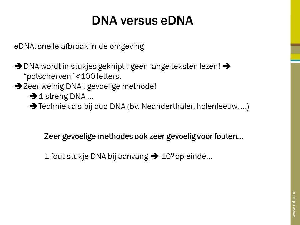 """DNA versus eDNA eDNA: snelle afbraak in de omgeving  DNA wordt in stukjes geknipt : geen lange teksten lezen!  """"potscherven"""" <100 letters.  Zeer we"""