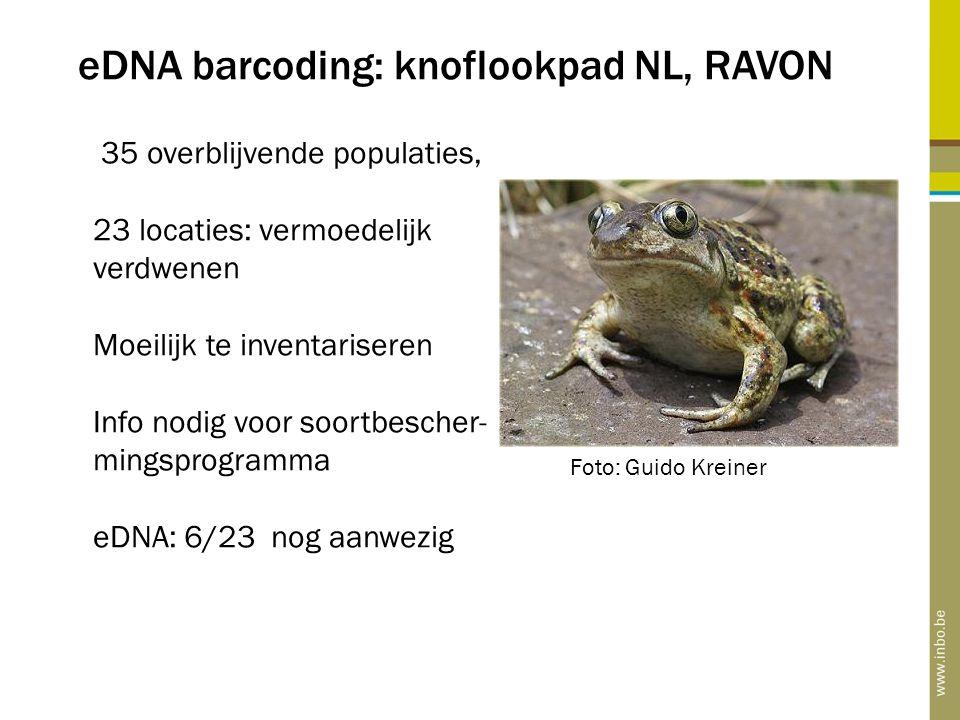 eDNA barcoding: knoflookpad NL, RAVON 35 overblijvende populaties, 23 locaties: vermoedelijk verdwenen Moeilijk te inventariseren Info nodig voor soor
