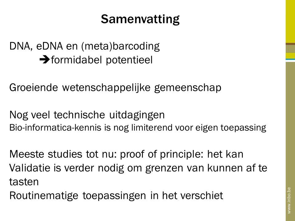 Samenvatting DNA, eDNA en (meta)barcoding  formidabel potentieel Groeiende wetenschappelijke gemeenschap Nog veel technische uitdagingen Bio-informat