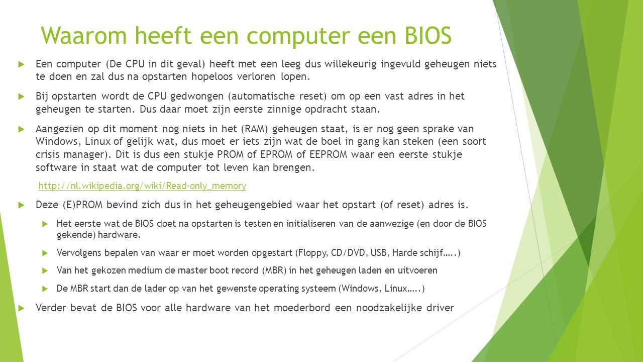 Waarom heeft een computer een BIOS  Een computer (De CPU in dit geval) heeft met een leeg dus willekeurig ingevuld geheugen niets te doen en zal dus na opstarten hopeloos verloren lopen.